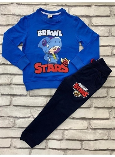 Riccotarz Erkek Çocuk Brawl Stars Mavi Eşofman Takım Renkli